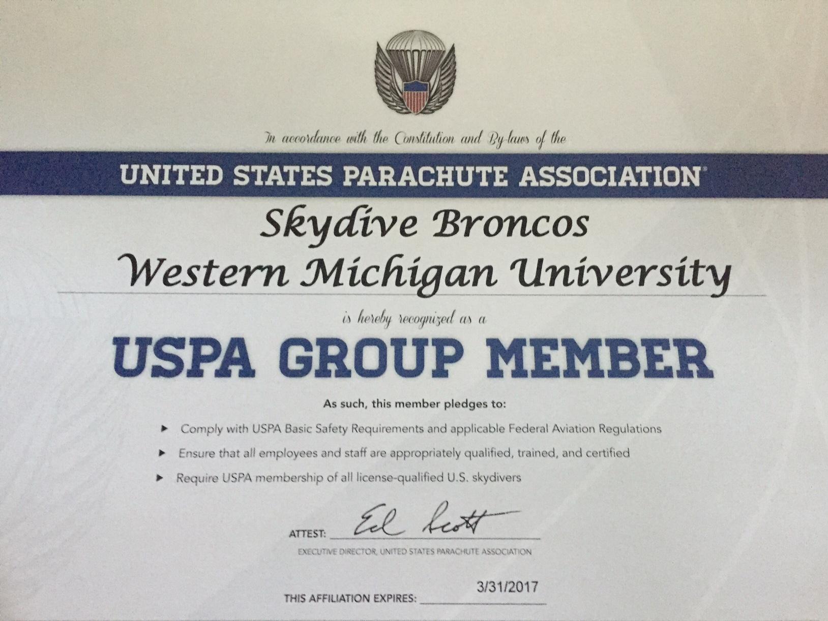 Western Michigan University Skydive Broncos Skydive Allegan
